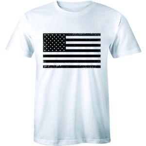 Patriotic Black And White US American Flag T-shirt